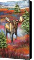Bull Pastels Canvas Prints - Bull Moose In Fall Canvas Print by Tracey Hunnewell