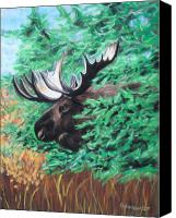 Bull Pastels Canvas Prints - Bull Moose Canvas Print by Tracey Hunnewell