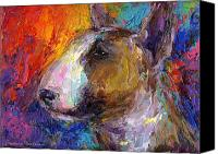 Bulls Drawings Canvas Prints - Bull Terrier Dog painting Canvas Print by Svetlana Novikova