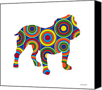Colorful Canvas Prints - Bulldog Canvas Print by Ron Magnes