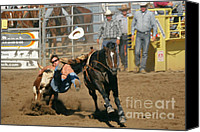 Riding Canvas Prints - Bulldogging at the Rodeo Canvas Print by Christine Till