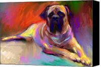 Yellow Canvas Prints - Bullmastiff dog painting Canvas Print by Svetlana Novikova