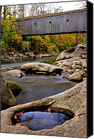 Autumn Foliage Canvas Prints - Bulls Bridge - Autumn scene Canvas Print by Thomas Schoeller