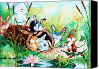 Easter Bunny Painting Canvas Prints - Bunnies Log and Frog Canvas Print by Hanne Lore Koehler