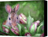 Tulip Mixed Media Canvas Prints - Bunny In The Tulips Canvas Print by Carol Cavalaris