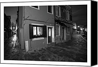 Photographs Digital Art Canvas Prints - Burano II - Italy - Black and White  Canvas Print by Marco Hietberg