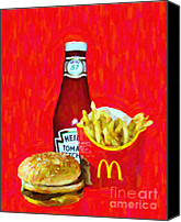 Junk Canvas Prints - Burger Fries And Ketchup Canvas Print by Wingsdomain Art and Photography