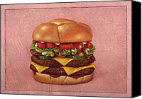 Tomatoes Tapestries Textiles Canvas Prints - Burger Canvas Print by James W Johnson