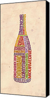 Mitch Frey Canvas Prints - Burgundy Wine Word Bottle Canvas Print by Mitch Frey
