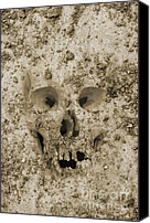 Dave Digital Art Canvas Prints - Buried Skull Canvas Print by Dave Gordon