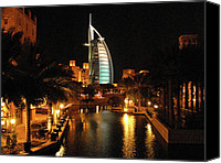 Middle East Canvas Prints - Burj Al Arab by Night Canvas Print by Graham Taylor
