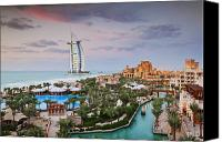 Arab Canvas Prints - Burj al Arab Hotel and Madinat Jumeirah Resort Canvas Print by Jeremy Woodhouse