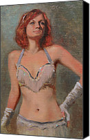White Gloves Canvas Prints - Burlesque Dancer Canvas Print by Anna Bain