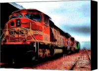 Santa Fe Digital Art Canvas Prints - Burlington Northern Santa Fe BNSF Locomotive Train at the Station 2 Canvas Print by Wingsdomain Art and Photography