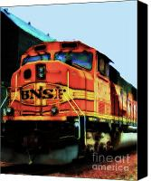 Santa Fe Digital Art Canvas Prints - Burlington Northern Santa Fe BNSF Locomotive Train at the Station Canvas Print by Wingsdomain Art and Photography