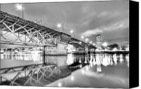 White Seagull Canvas Prints - Burnside Bridge Portland Oregon at Night Canvas Print by Dustin K Ryan