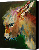 Donkey Painting Canvas Prints - Burro Donkey Canvas Print by Diane Whitehead