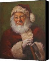 Figurative Canvas Prints - Burts Santa Canvas Print by Vicky Gooch