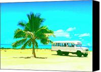 Kaanapali Mixed Media Canvas Prints - Bus Stop in Paradise Canvas Print by Dominic Piperata