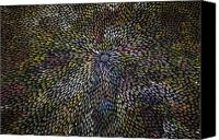 Aboriginal Art Painting Canvas Prints - Bush Leaf Medicine Canvas Print by Margaret Scobie