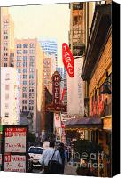 Hotels Digital Art Canvas Prints - Bush Street in San Francisco Canvas Print by Wingsdomain Art and Photography