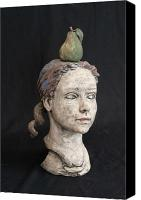 Sculpture Ceramics Canvas Prints - Bust Of A Girl Canvas Print by Kathleen Raven