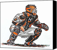 Baseball Painting Canvas Prints - Buster Posey Canvas Print by Terry Banderas