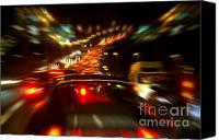Moving Canvas Prints - Busy Highway Canvas Print by Carlos Caetano
