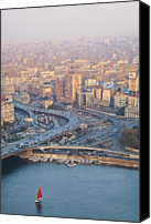 Middle East Canvas Prints - Busy Junction And The Nile With Traditional Boat Canvas Print by Kokoroimages.com