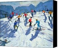 Austrian Canvas Prints - Busy Ski Slope Canvas Print by Andrew Macara