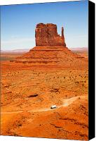Arid Canvas Prints - Butte with truck Canvas Print by Jane Rix