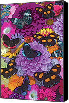 Feminine Canvas Prints - Butterflies and Flowers 2 Canvas Print by JQ Licensing