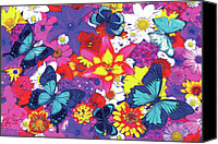 Arrangement Painting Canvas Prints - Butterflies and Flowers Canvas Print by JQ Licensing