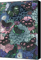 Arrangement Painting Canvas Prints - Butterflies Canvas Print by JQ Licensing