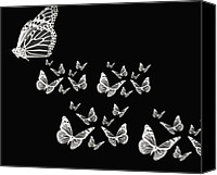 Black And White Digital Art Canvas Prints - Butterflies Canvas Print by Lourry Legarde