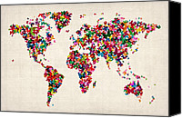Vintage Canvas Prints - Butterflies Map of the World Canvas Print by Michael Tompsett