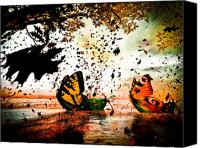 Science Fiction Mixed Media Canvas Prints - Butterfly Fairy Boats Canvas Print by Bob Orsillo
