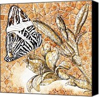 Floral Drawings Canvas Prints - Butterfly Mosaic 02 Elena Yakubovich Canvas Print by Elena Yakubovich
