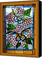 Stain Glass Digital Art Canvas Prints - Butterfly Stained Glass Window Canvas Print by Thomas Woolworth