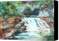 State Park Painting Canvas Prints - Buttermilk Falls II Canvas Print by Patricia Allingham Carlson