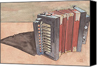 Button Painting Canvas Prints - Button Accordion Canvas Print by Ken Powers
