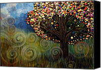 Button Painting Canvas Prints - Button tree 0003 Canvas Print by Monica Furlow