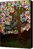 Button Painting Canvas Prints - Button tree 0007 Canvas Print by Monica Furlow