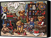 Jem Fine Arts Mixed Media Canvas Prints - Buttons N Bears Canvas Print by J McCombie
