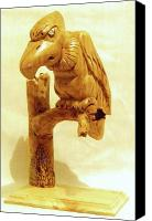 Woodcarving Sculpture Canvas Prints - Buzzard Canvas Print by Russell Ellingsworth