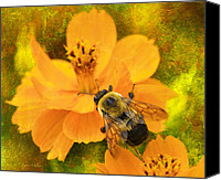 Walker Digital Art Canvas Prints - Buzzy The Honey Bee Canvas Print by J Larry Walker