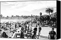 Park Benches Digital Art Canvas Prints - bw 467 Beachgoers Canvas Print by Chris Berry
