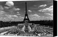 Fontain Canvas Prints - BW France Paris Fontain Chaillot Tour Eiffel 1970s Canvas Print by Issame Saidi