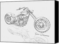 Louis Ferreira Art Canvas Prints - BW Gator motorcycle Canvas Print by Louis Ferreira