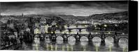 Charles Bridge Canvas Prints - BW Prague Bridges Canvas Print by Yuriy  Shevchuk